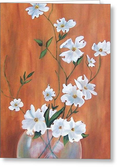 Stretched Cotton Canvas Greeting Cards - Dogwood Blooming Greeting Card by Ruth  Housley