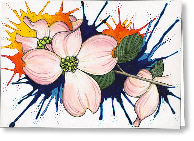 Nora Blansett Mixed Media Greeting Cards - Dogwood Flowers Greeting Card by Nora Blansett