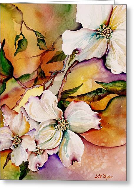 Spring Flowers Paintings Greeting Cards - Dogwood in Spring Colors Greeting Card by Lil Taylor