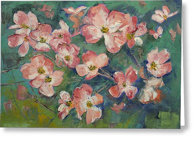 Pink Blossoms Greeting Cards - Dogwood Greeting Card by Michael Creese