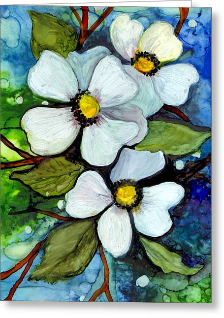 Alcohol Inks Greeting Cards - Dogwood on Blue Greeting Card by Elaine Hodges