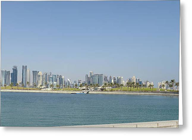 21st Greeting Cards - Doha city skyline from Museum Park Greeting Card by Paul Cowan