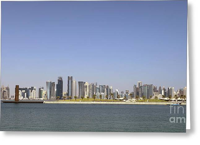 Building Crane Greeting Cards - Doha skyline panorama Greeting Card by Paul Cowan