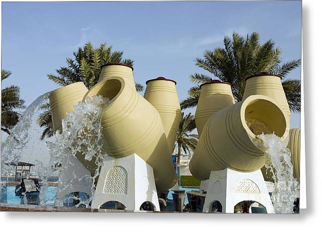 Flowing Fountain Greeting Cards - Doha Water Pots fountain Greeting Card by Paul Cowan