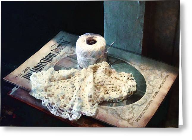 Susan Savad Greeting Cards - Doily and Crochet Thread Greeting Card by Susan Savad