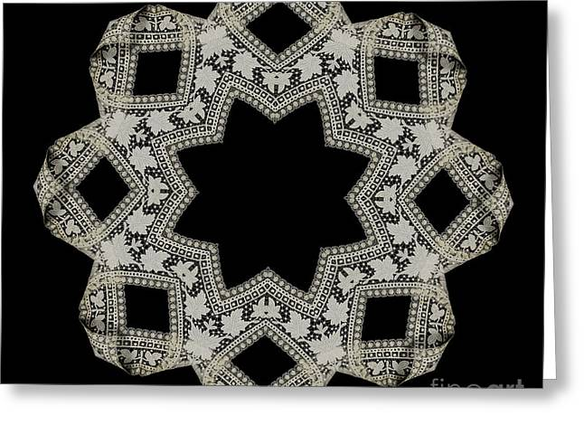 Crocheted Doily Greeting Cards - Doily BK-15269-A-001a Greeting Card by Becky Hayes