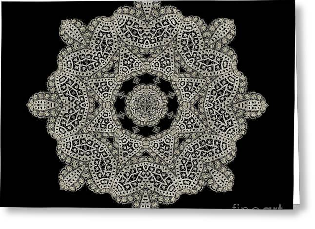 Crocheted Doily Greeting Cards - Doily BK-15269-A-024a Greeting Card by Becky Hayes