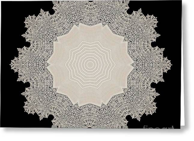 Crocheted Doily Greeting Cards - Doily BK-1978-462-5a Greeting Card by Becky Hayes