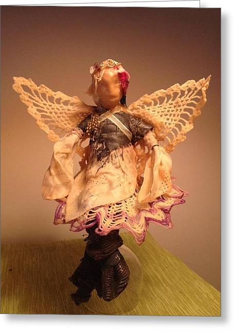 Doll Sculptures Greeting Cards - Doily Doll Greeting Card by CD Good