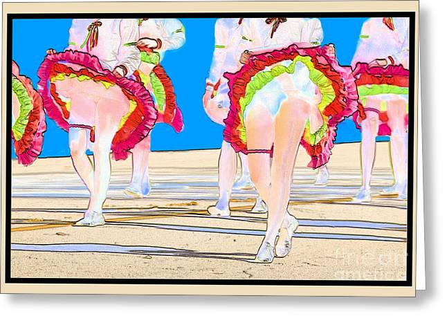 Ruffled Skirt Greeting Cards - Doing The Can-Can Greeting Card by Betty LaRue
