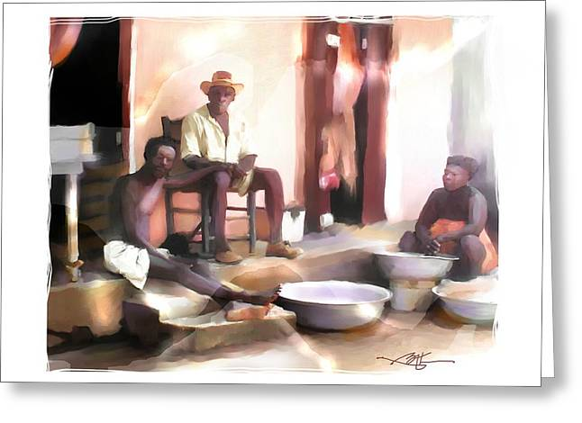 Haitian Mixed Media Greeting Cards - Doing The Laundry Greeting Card by Bob Salo