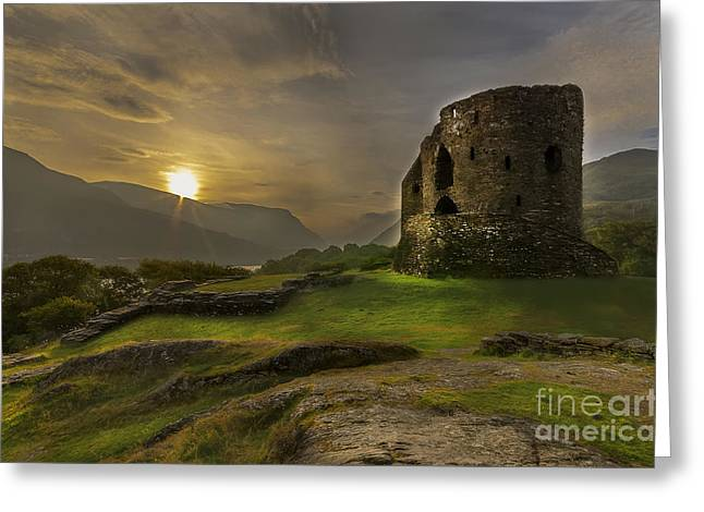 North Wales Greeting Cards - Dolbadarn Castle Sunrise Greeting Card by Darren Wilkes