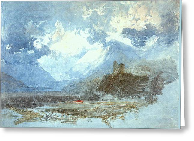 Painter Of Light Greeting Cards - Dolbadern castle and Llanberis Lake 1799 Greeting Card by J M W Turner