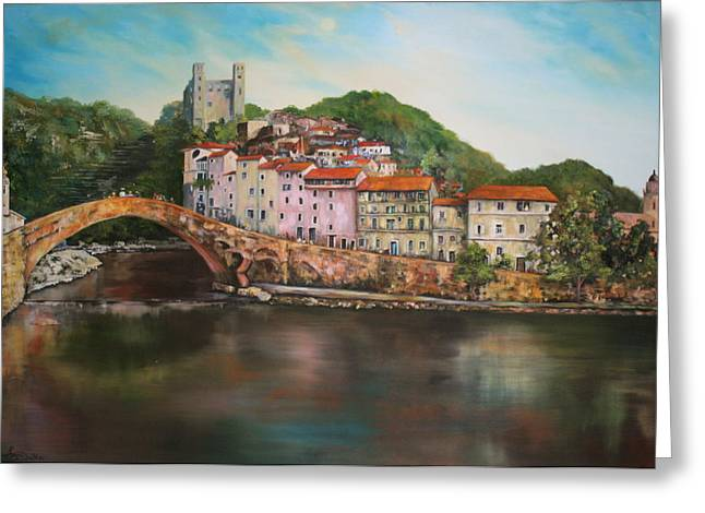 Jean Walker Greeting Cards - Dolceacqua italy Greeting Card by Jean Walker
