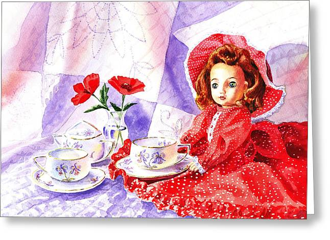 Tea Party Greeting Cards - Doll At The Tea Party  Greeting Card by Irina Sztukowski