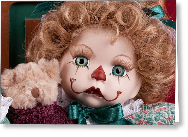 Childhood Greeting Cards - Doll Clown Greeting Card by Cindy Singleton