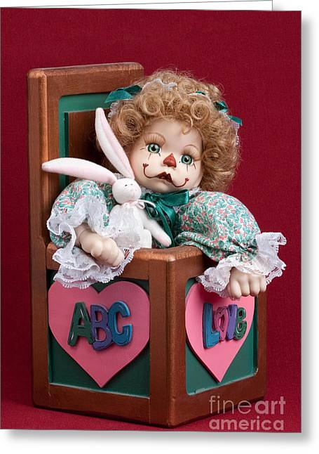 Hand Made Greeting Cards - Doll Clown in Box Greeting Card by Cindy Singleton