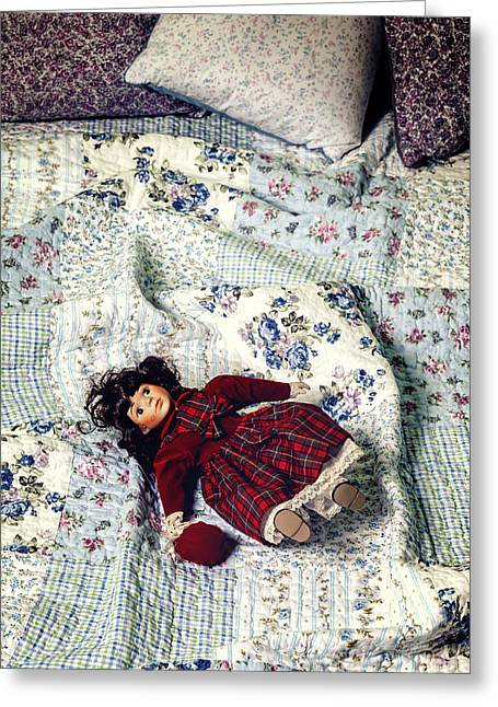 Cushion Photographs Greeting Cards - Doll On Bed Greeting Card by Joana Kruse