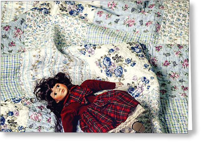 doll on bed Greeting Card by Joana Kruse