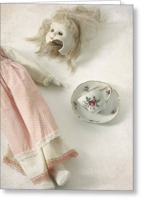 Headless Greeting Cards - Doll With Tea Cup Greeting Card by Joana Kruse
