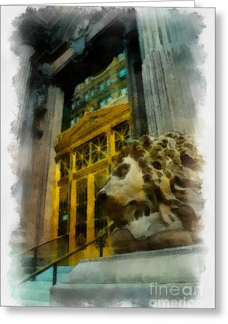 Regal Greeting Cards - Dollar Bank Lion Pittsburgh Greeting Card by Amy Cicconi