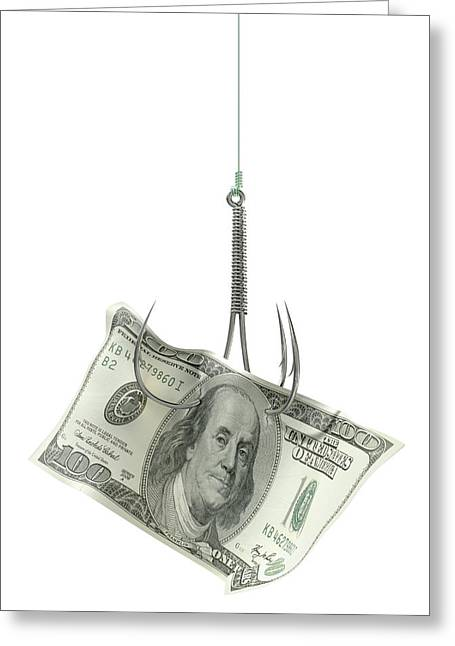 Coax Greeting Cards - Dollar Banknote Baited Hook Greeting Card by Allan Swart