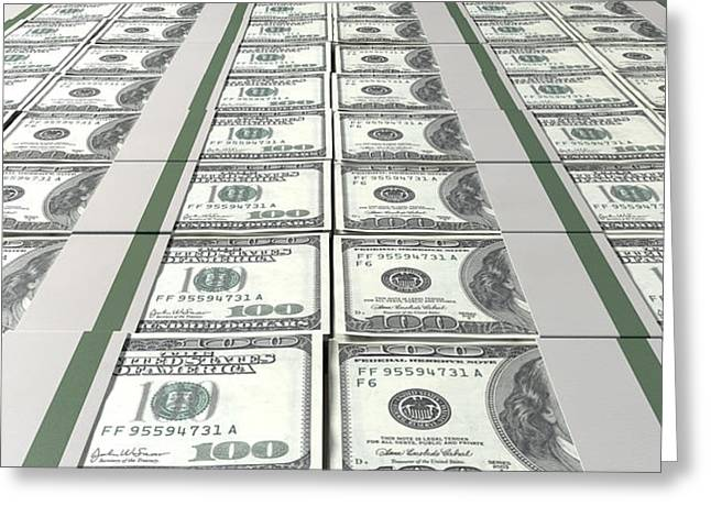 Dollar Greeting Cards - Dollar Bill Bundles Laid Out Greeting Card by Allan Swart