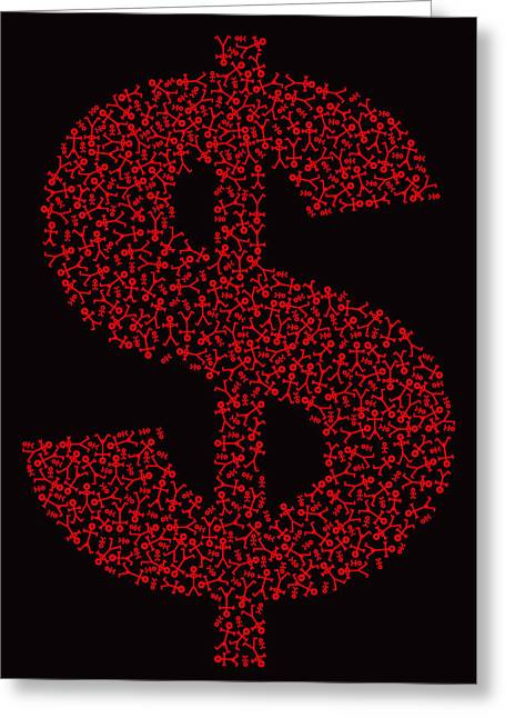 Stylized Paintings Greeting Cards - Dollar People Icon Greeting Card by Thisisnotme