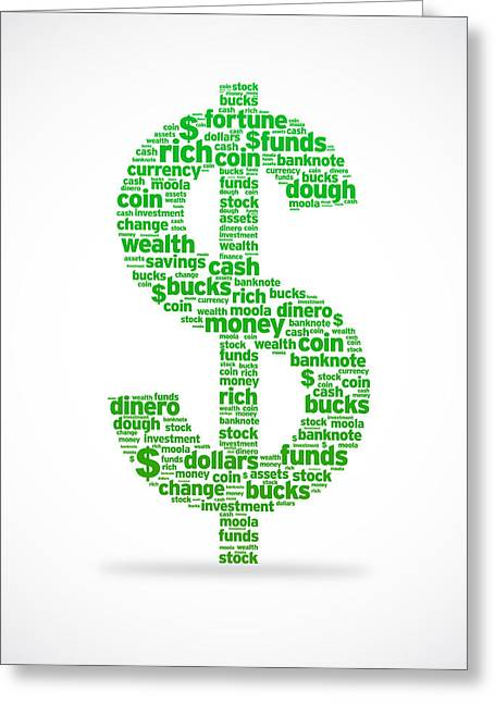 Treasures Greeting Cards - Dollar Sign Greeting Card by Aged Pixel