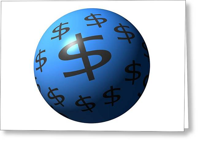 Planet Money Greeting Cards - Dollar Sphere Greeting Card by Henrik Lehnerer