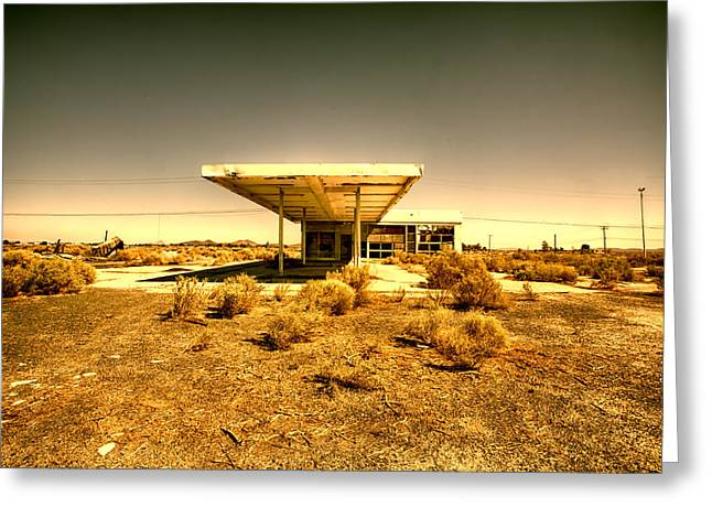 Mojave Desert Greeting Cards - Dollar Twenty Five a Gallon Greeting Card by Peter Tellone