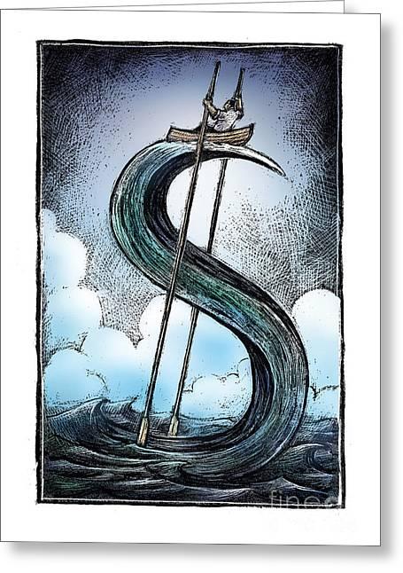 Row Boat Drawings Greeting Cards - Dollar Wave-1 Greeting Card by Chris Van Es