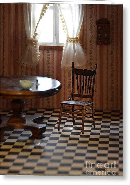 Checkerboard Floor Greeting Cards - Dollhouse Kitchen Greeting Card by Jill Battaglia