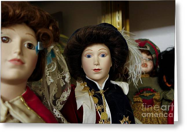 Dolls In Antique Shop Greeting Card by Amy Cicconi