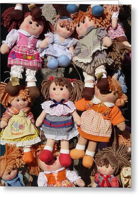 Plaid Dress Greeting Cards - Dolls Greeting Card by Marcia Socolik