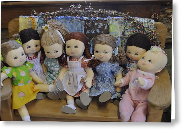 Row Tapestries - Textiles Greeting Cards - Dolls On A Bench Greeting Card by Patricia Holmes