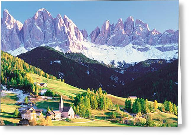 Snow Capped Greeting Cards - Dolomite Italy Greeting Card by Panoramic Images