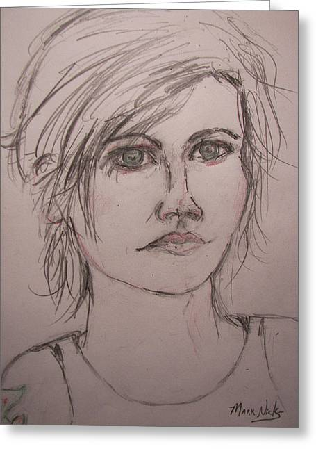 Player Drawings Greeting Cards - Dolores ORiordan Greeting Card by Mark Nicks