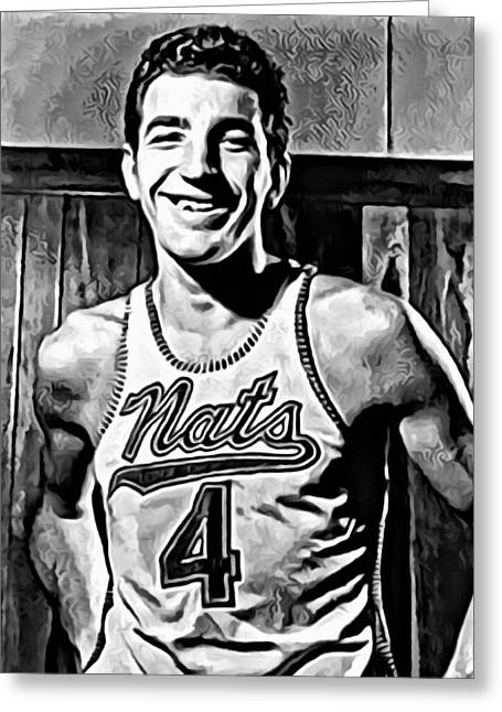 Sixers Greeting Cards - Dolph Schayes Greeting Card by Florian Rodarte