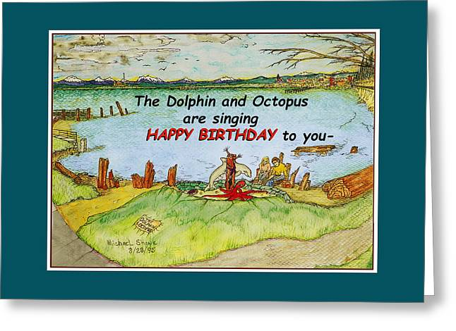 Best Sellers -  - Wishes Greeting Cards - Dolphin and Octopus Singing Happy Birthday Greeting Card by Michael Shone SR