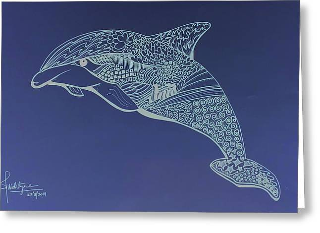 Dolphins Drawings Greeting Cards - Dolphin Greeting Card by Debbie McIntyre