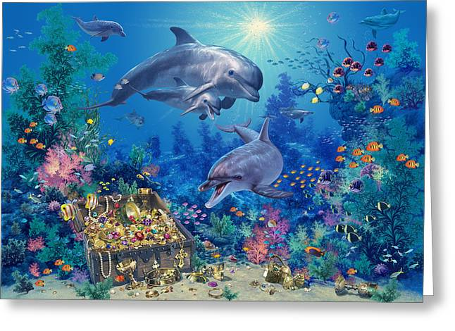 Treasures Greeting Cards - Dolphin Family Variant Greeting Card by Steve Read