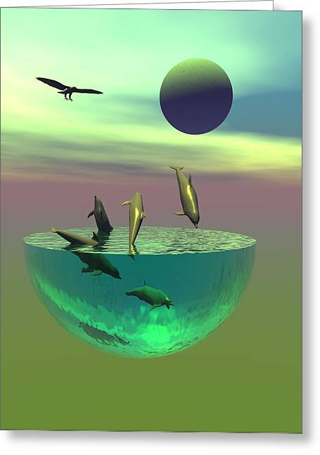 Scifi Digital Art Greeting Cards - Dolphin heaven Greeting Card by Claude McCoy