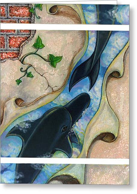 Surreal Landscape Drawings Greeting Cards - Dolphin in my dream Greeting Card by Praphavit Premtha