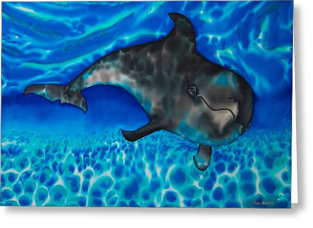 Aquatic Tapestries - Textiles Greeting Cards - Dolphin in Saint Lucia Greeting Card by Daniel Jean-Baptiste