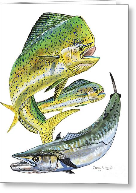 Mackerel Greeting Cards - Dolphin Kingfish Greeting Card by Carey Chen