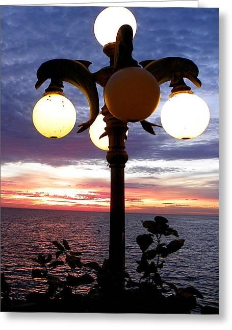 Cedar Key Greeting Cards - Dolphin Lamp I Greeting Card by Sheri McLeroy