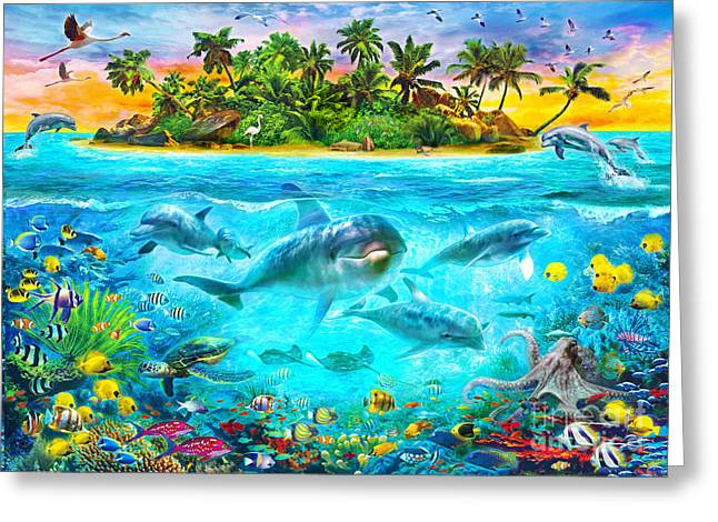 Octopus Greeting Cards - Dolphin Paradise Island Greeting Card by Jan Patrik Krasny