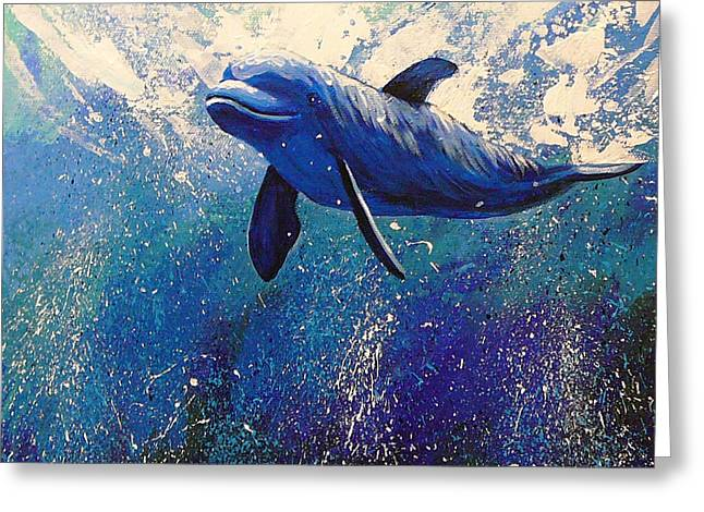 Gayle Utter Greeting Cards - Dolphin Play Greeting Card by Gayle Utter