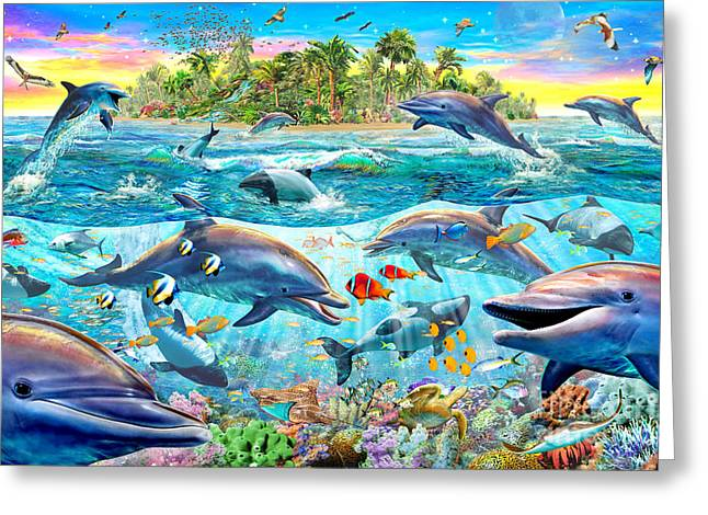 People Digital Greeting Cards - Dolphin Reef Greeting Card by Adrian Chesterman